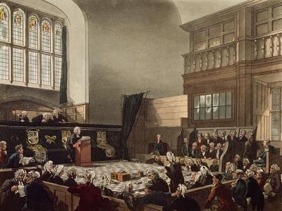 Court of Exchequer, Westminster Hall, from 'The Microcosm of London', Engraved by J. C. Stadler