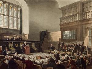 Court of Exchequer, Westminster Hall, from 'The Microcosm of London', Engraved by J. C. Stadler by Thomas Rowlandson