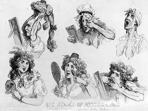 Six Stages of Making a Face', Printed by S.W. Fores, 1792 (Etching) by Thomas Rowlandson