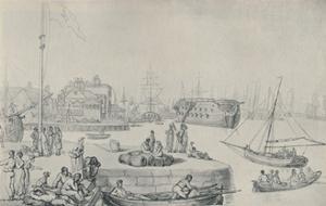 'The Quay, Blackwall Docks', 1810', (1920) by Thomas Rowlandson