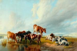 A Group of Cattle, 1877 by Thomas Sidney Cooper