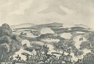 'Battle of Quatre Bras, June 16, 1815', 1815 (1909) by Thomas Sutherland