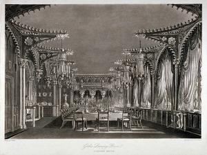 Interior View of the Gothic Dining Room in Carlton House, Westminster, London, 1819 by Thomas Sutherland