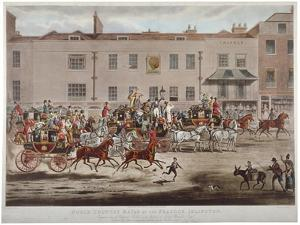 Mail Coaches in Front of the Peacock Inn on Islington High Street, London, 1823 by Thomas Sutherland