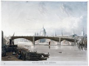 View of 'Southwark Iron Bridge' from Bankside, London, 1819 by Thomas Sutherland