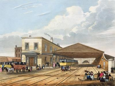 Railway Office, from 'Coloured View of Liverpool and Manchester Railway', engraved by S.G. Hughes