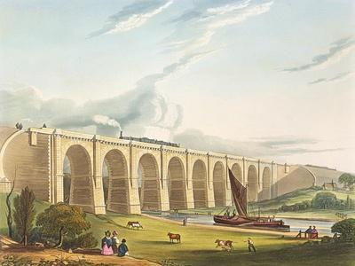 Viaduct across the Sankey Valley, Plate 'Liverpool and Manchester Railway', engraved by Henry Pyall