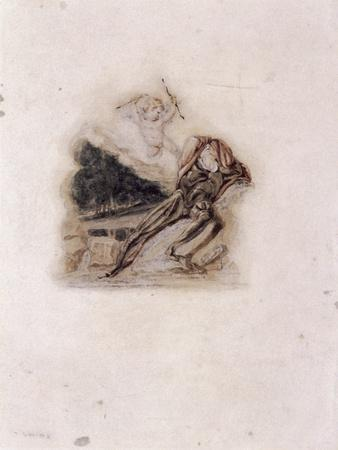 Cupid and Lover Lamenting the Death of a Loved One, C1802-C1857