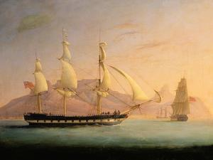 East Indiaman Outward Bound Off Cape Town and Table Mountain (Seen in Two Positions) by Thomas Whitcombe