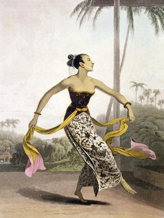 """A Ronggeng or Dancing Girl, Plate 21 from Vol. I of """"The History of Java"""""""