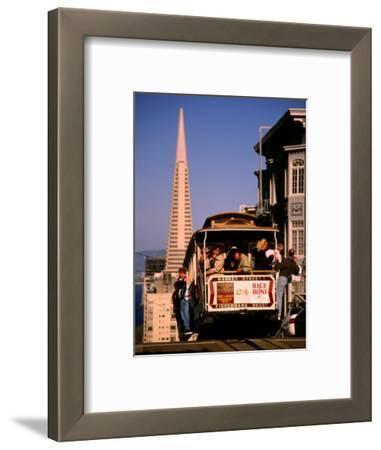 Cable Car on Nob Hill with Transamerica Building in Background, San Francisco, U.S.A.