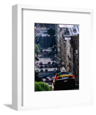 Taxi Driving Down Jones Street, San Francisco, California