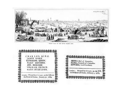 Frost Fair on the River Thames, and Specimens of Printing, February 1684