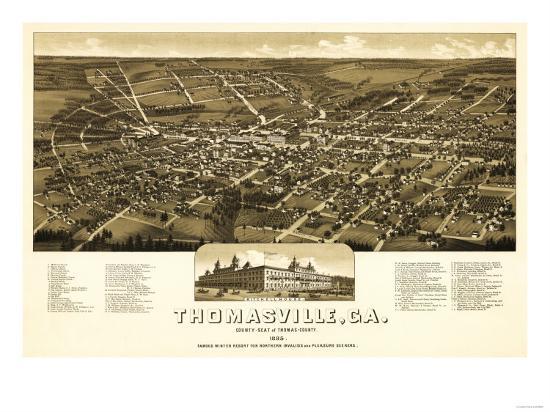 Thomasville, Georgia - Panoramic Map-Lantern Press-Art Print