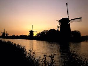Netherlands, Kinderdijk, Canal, Windmills, Evening Mood by Thonig