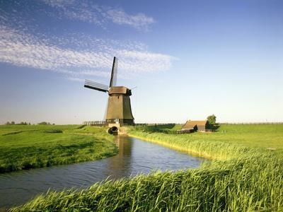 Netherlands, Polder Landscape, Alkmaar, Canal, Windmill