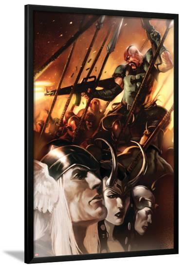 Thor God-Size Special No.1 Cover: Thor, Loki, Balder and Skurge--Lamina Framed Poster