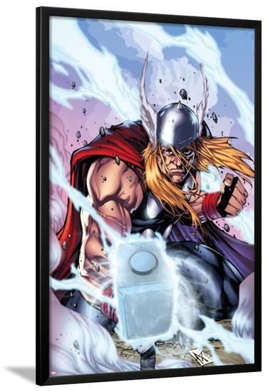 Thor: Heaven and Earth No.3 Cover: Thor Smashing with Mjonir-Agustin Padilla-Lamina Framed Poster