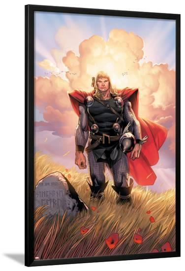 Thor No.10 Cover: Thor Jumping-Olivier Coipel-Lamina Framed Poster