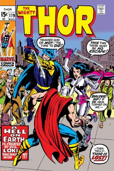Thor No.179 Cover: Thor, Balder and Sif-Jack Kirby-Art Print