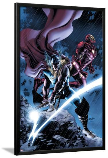 Thor No.80 Cover: Thor and Iron Man-Steve Epting-Lamina Framed Poster