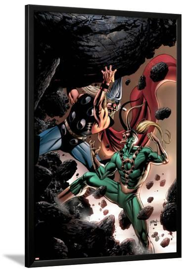Thor No.84 Cover: Thor and Loki Fighting and Flying-Steve Epting-Lamina Framed Poster