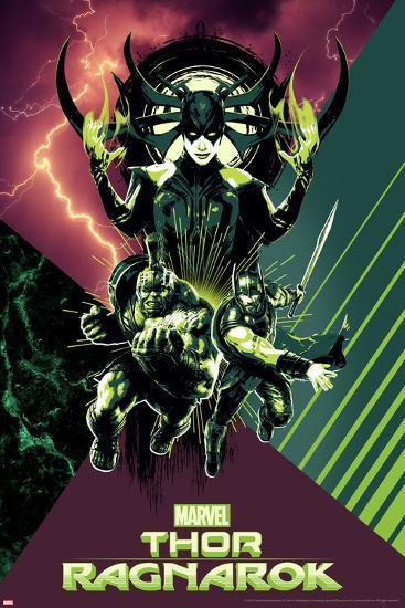 Thor: Ragnarok - Hela, Thor, Hulk--Art Print