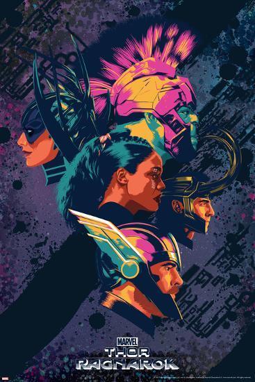 Thor: Ragnarok - Thor, Hulk, Valkyrie, Loki, Hela--Art Print