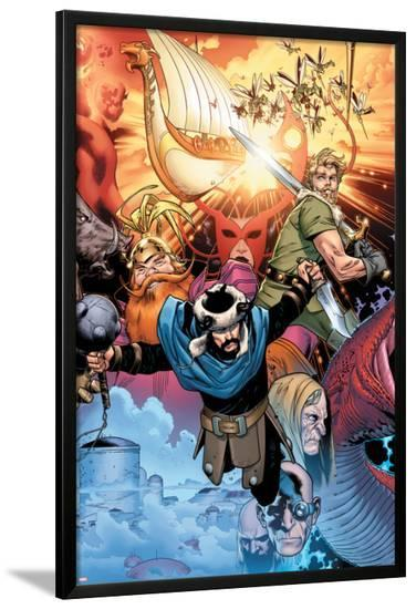 Thor: Tales of Asgard By Stan Lee & Jack Kirby No.4 Cover: Hogun, Fandral and Volstagg-Olivier Coipel-Lamina Framed Poster