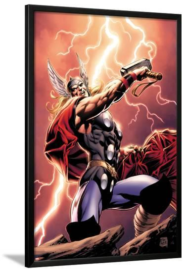 Thor: Wolves of The North No.1 Cover: Thor Standing with Mjonir in Lightning-Mike Perkins-Lamina Framed Poster