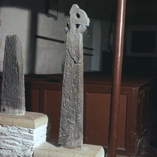 Thorleif Hmakki's cross at Braddan on the Isle of Man. Artist: Unknown-Unknown-Photographic Print