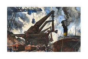 Cranes Unload Iron Ore from Great Lakes Steam Ships by Thornton Oakley