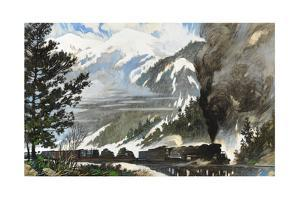 Freight Train Pulls Tanks and Materiel across the Continental Divide by Thornton Oakley