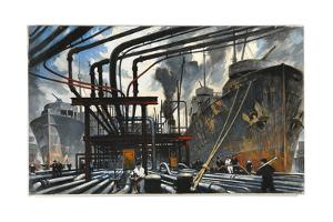 Men Pump Gasoline into Tanker Ships from Dockside Pipes by Thornton Oakley