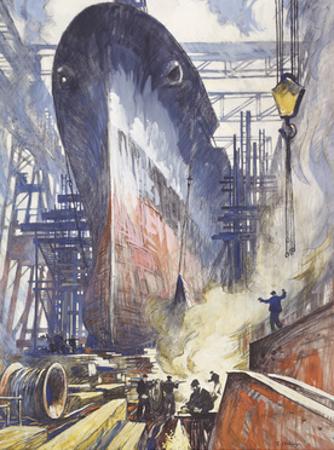The U.S. Battleship, Alabama, Gets Ready to Launch by Thornton Oakley