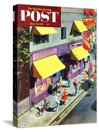 """Bicycle Tricks"" Saturday Evening Post Cover, June 18, 1955"