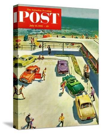 """Flat Tire at the Beach"" Saturday Evening Post Cover, July 23, 1955"