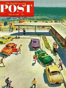 """Flat Tire at the Beach"" Saturday Evening Post Cover, July 23, 1955 by Thornton Utz"