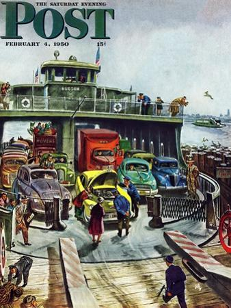 """Hudson Ferry"" Saturday Evening Post Cover, February 4, 1950"