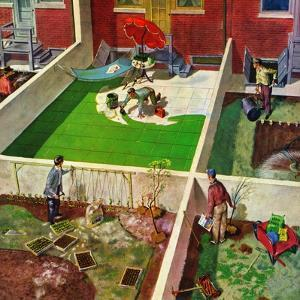 """Painting the Patio Green"", May 2, 1953 by Thornton Utz"