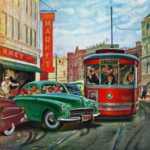 """Parallel Parking"", April 1, 1950 by Thornton Utz"