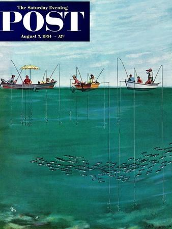 """""""School of Fish Among Lines"""" Saturday Evening Post Cover, August 7, 1954"""
