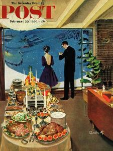 """Snow Buffet Party,"" Saturday Evening Post Cover, February 20, 1960 by Thornton Utz"