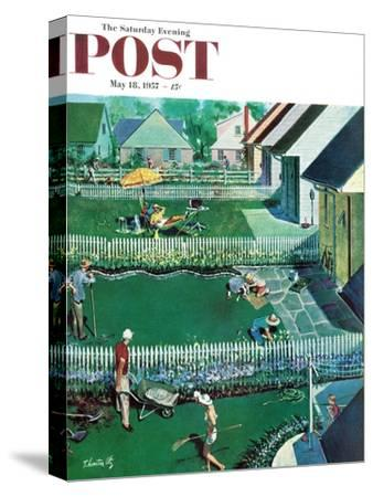 """Spring Yardwork"" Saturday Evening Post Cover, May 18, 1957"