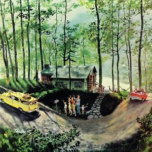 """Visitors to Cabin in the Woods"", August 23, 1958 by Thornton Utz"