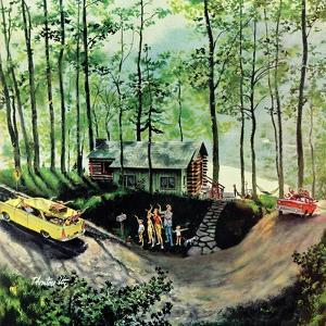 """""""Visitors to Cabin in the Woods"""", August 23, 1958 by Thornton Utz"""