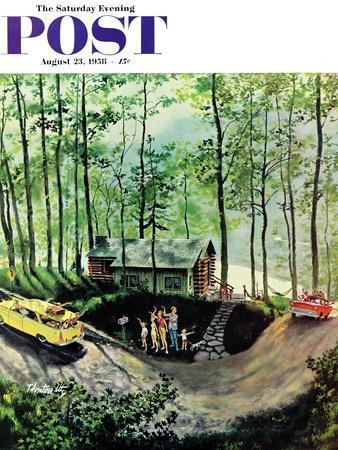 """""""Visitors to Cabin in the Woods"""" Saturday Evening Post Cover, August 23, 1958"""