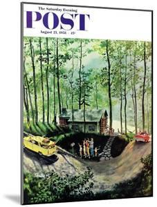"""""""Visitors to Cabin in the Woods"""" Saturday Evening Post Cover, August 23, 1958 by Thornton Utz"""