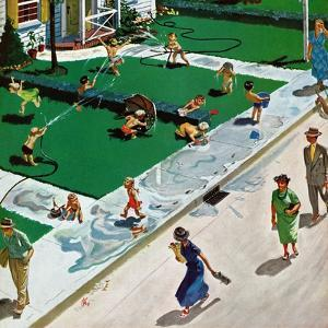 """Water Fight"", June 30, 1951 by Thornton Utz"