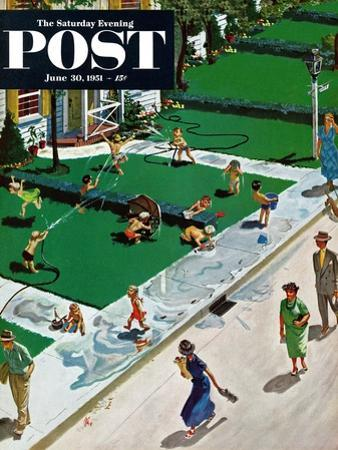 """Water Fight"" Saturday Evening Post Cover, June 30, 1951"